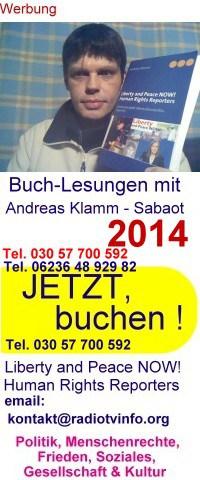 Buchlesungen von und mit Andreas Klamm Sabaot, Tel. 030 57 700 592